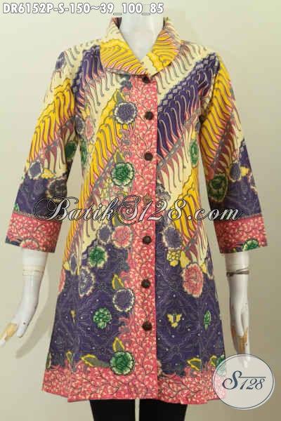 Jual Online Baju Batik Kerah Miring, Dress Batik Berkelas Motif Modern Klasik Proses Printing Untuk Penampilan Terlihat Istimewa [DR6152P-S]