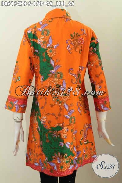 Baju Batik Model Terbaru, Dress BatikKerah Miring Dengan Desain Modis Trendy Bahan Halus Warna Keren Proses Printing, Cocok Untuk Wanita Muda [DR6154P-S]