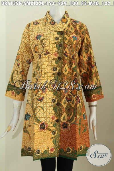 Aneka Busana Batik Wanita Terkini, Dress Batik Halus Kerah Miring Motif Trendy Proses Printing Bikin Penampilan Lebih Istimewa [DR6159P-XL , XXL]