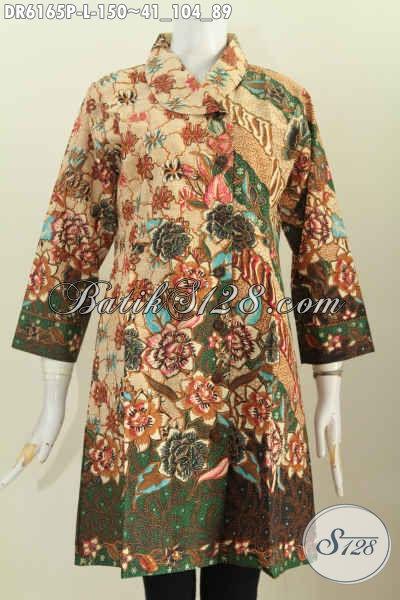 Juragan Baju Batik Online Paling Up To Date, Jual Dress Kerah Miring Halus Motif Mewah Proses Printing Hanya 150K, Cocok Buat Ke Kantor [DR6165P-L]