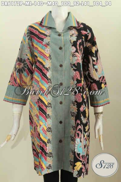 Baju Batik Kerah Kotak Dengan Kombinasi Warna Dan Motif Berkelas Bahan Halus Proses Printing Hanya 100 Ribuan [DR6172P-M]