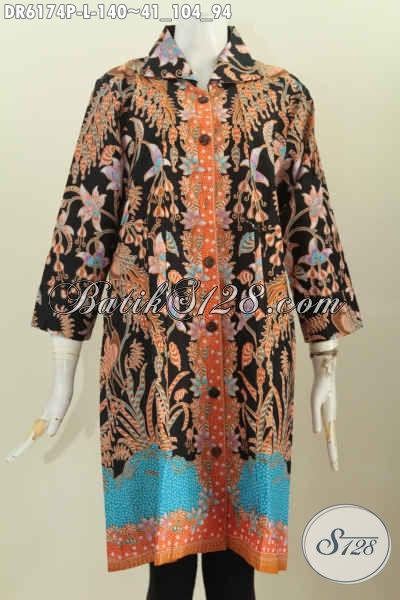 Batik Dress Model Terbaru, Baju Batik Solo Halus Kerah Kotak Kwalitas Bagus Proses Printing Hanya 140 Ribu [DR6174P-L]