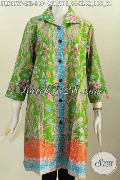 Juragan Batik Solo Asli, Sedia Dress Kerah Kotak Hijau Motif Unik Proses Printing Desain Kerah Kotak Untuk Penampilan Lebih Gaya [DR6175P-XL]