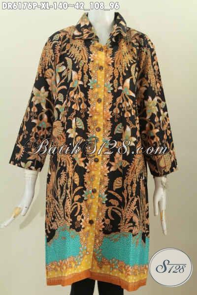 Dress Batik Solo Halus Model Kerah Kotak, Baju Batik Printing Istimewa Untuk Tampil Modis Dan Elegan [DR6176P-XL]