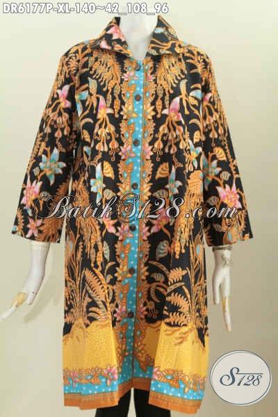 Pakaian Batik Solo Masa Kini, Produk Baju Batik Kwalitas Bagus Dengan Harga Terjangkau Model Kerah Kotak, Cocok Buat Seragam Kerja Kantoran [DR6177P-XL]