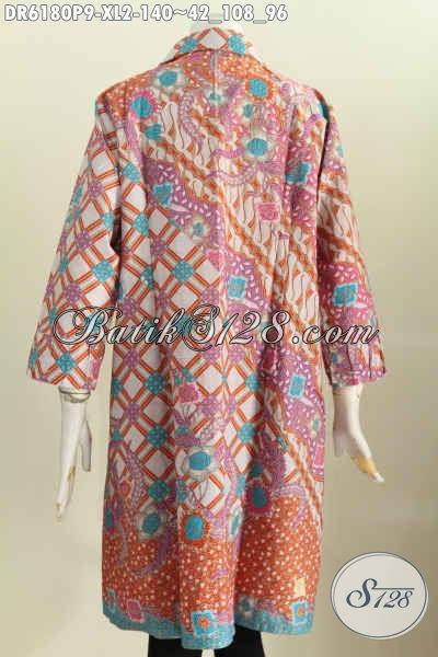 Sedia Dress Batik Modis, Baju Batik Solo Istimewa, Pakaian Batik Kerah Kotak Baut Wanita Untuk Terlihat Gaya Dan Mempesona [DR6180P-XL]