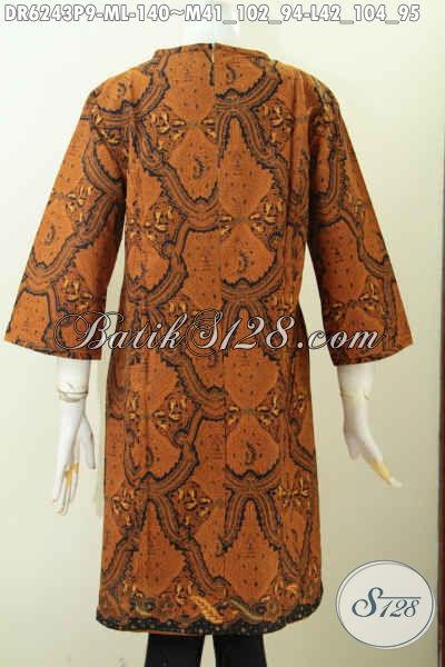 Dress Batik Klasik Bagus Buatan Solo Model Resleting Belakang Kwalitas Istimewa Proses Printing Bikin Wanita Tampil Lebih Gaya Dan Elegan [DR6243P-L]