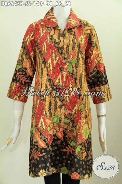 Batik Dress Kerah Kotak Dengan Lengan Model Opneisel Motif Klasik Proses Printing, Elegan Untuk Busana Kerja [DR6245P-S]