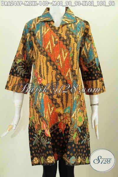 Batik Dress Solo Halus Motif Mewah Proses Printing, Baju Desain Lengan Opneisel Untuk Penampilan Lebih Trendy, Size M – XL