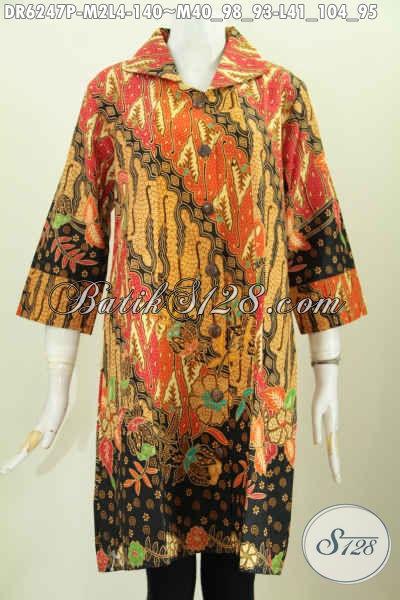 Baju Batik Wanita Masa Kini, Hadir Dengan Desain Berkerah Berpadu Lengan Opneisel Untuk Tampil Lebih Modis Dan Elegan [DR6247P-M , L]