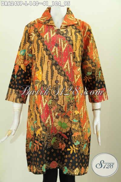 Jual Dress Batik Kerah, Pakaian Batik Modern Lengan Desain Opneisel Berbahan Halus Motif Klasik Printing Harga 140K [DR6249P-L]