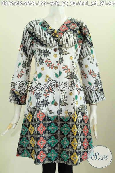 Baju Dress Model Terkini, Busana Batik Wanita Kerah V Motif Keren Proses Printing Cocok Buat Santai Dan Resmi [DR6254P-S , M]
