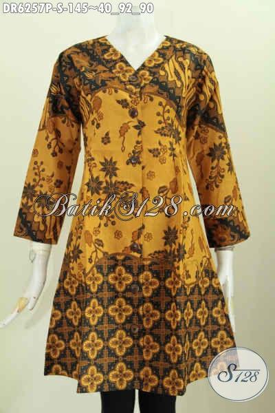 Baju Dress Warna Klasik Nan Elegan, Pakaian Batik Istimewa Buatan Solo Proses Printing Bahan Adem Model Kerah V Harga 145K [DR6257P-S]