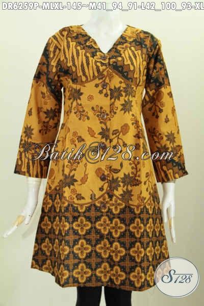 Toko Batik Online Sedia Dress Kerah V Bahan Adem Motif Berkelas Buatan Solo Hanya 145K, Size M – L – XL