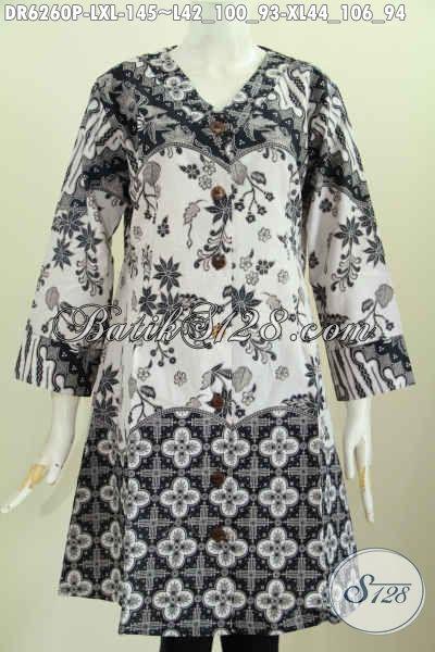 Baju Dress Modis Halus Desain Kerah V Bahan Adem Proses Printing Bautan Solo, Spesial Untuk Seragam Kerja [DR6260P-L]