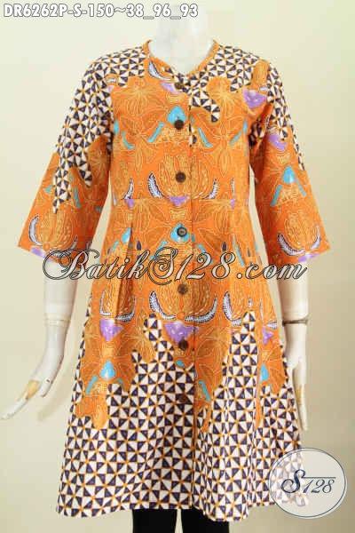Dress Batik Tanpa Krah Motif Modern, Baju Batk Kuning Cerah Proses Printing Harga 150K Untuk Wanita muda [DR6262P-S]