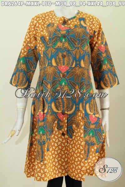 Jaul Baju Dress Batik Tanpa Kerah, Pakaian Batik Modis Buatan Solo Proses Printing Bahan Adem Kwalitas Istimewa Hanya 150 Ribu [DR6264P-M]