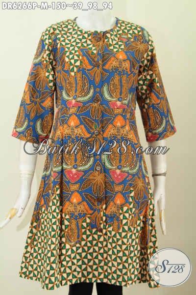 Koleksi Dress Wanita Model Tanpa Kerah Lengan 3 4 Batik