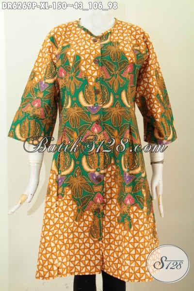 Online Shop Baju Batik Terlengkap, Sedia Dress Tanpa Krah Bahan Adem Proses Printing Untuk Wanita Dewasa [DR6269P-XL]