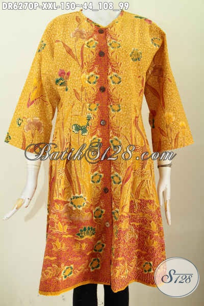 Dress Batik Jumbo, Baju Batik Keren Halus Motif Trendy Buatan Solo Asli Proses Printing, Spesial Buat Wanita Gemuk [DR6270P-XXL]