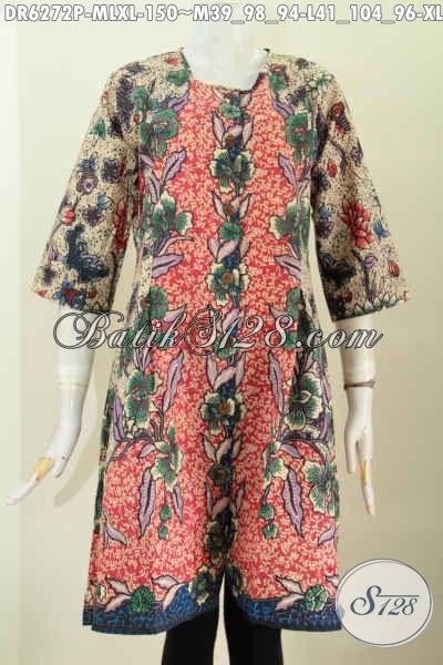 Baju Batik Halus Motif Bunga-Bunga, Dress Batik Solo Tanpa Krah Untuk Pesta Dan Hangout Proses Printing [DR6272P-M , L]