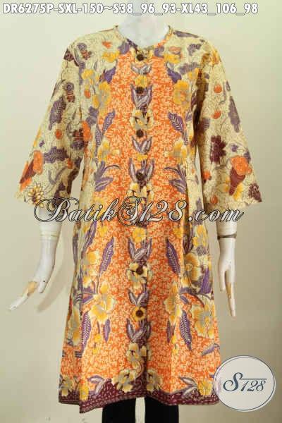 Pusat Baju Batik Online, Jual Aneka Dress Tanpa Krah Berbahan Halus Proses Printing Untuk Kerja Dan Santai [DR6275P-S]