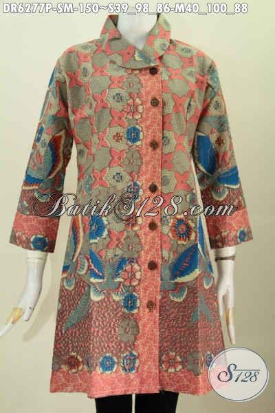 Baju Batik Mewah Harga Murah, Dress Batik Kerah Miring Motif Bagus Proses Printing Untuk Seragam Kerja Nan Istimewa [DR6277P-S , M]