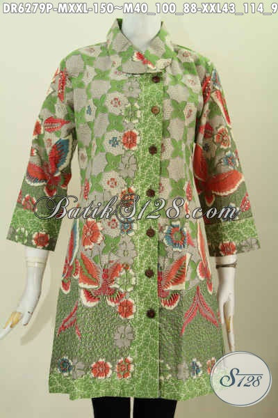 Dress Batik Hijau Motif Bunga, Produk Pakaian Batik Wanita Terbaru Proses Printing Harga 150K [DR6279P-XXL]