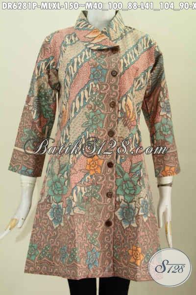Produk Baju Dress Batik Solo Terbaru, Hadir Dengan Kerah Miring Motif Bunga Warna Elegan Harga 150 Ribu Proses Printing [DR6281P-L , XL]
