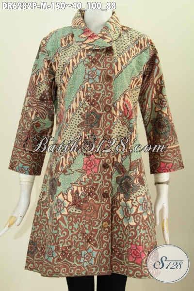 Baju Batik Kerja Wanita Muda, Dress Batik Kerah Miring Halus Buatan Solo Motif Bunga Proses Printing 100 Ribuan [DR6282P-M]