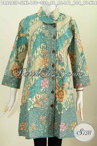 Baju Batik Dress Masa Kini Motif Bunga-Bunga, Pakaian Batik Solo Istimewa UntukWanita Muda Dan Dewasa Tampil Cantik Mempesona [DR6283P-S]