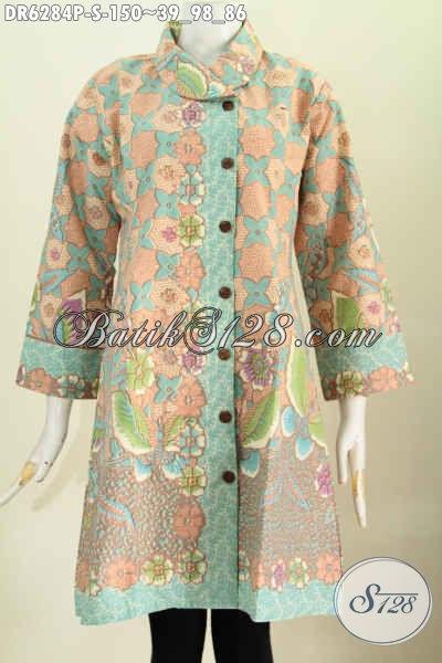 Baju Batik Dress Istimewa Bautan Solo, Busana Batik Modern Kerah Miring Ynga Bikin Wanita Tampil Berkela [DR6284P-S]