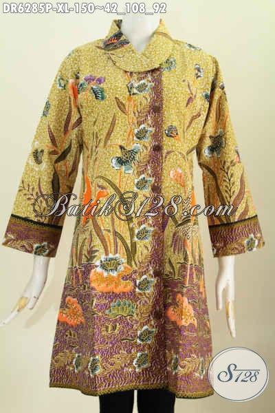 Produk Baju Batik Solo Kwalitas Bagus Model Kerah Miring Motif Unik Proses Printing Harga 150K, Bisa Untuk Resmi Dan Santai [DR6285P-XL]