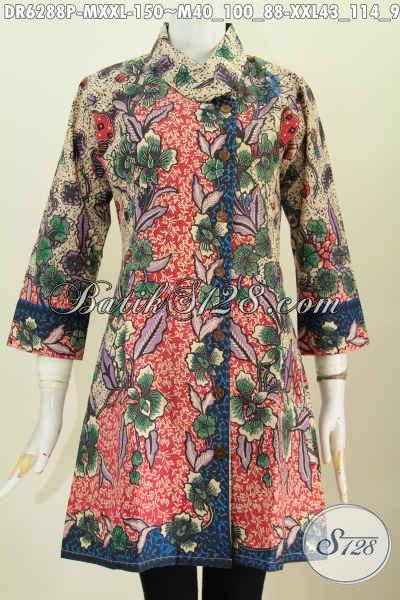 Dress Batik Bunga-Bunga Bautan Buatan Solo, Pakaian Batik Kerja Wanita Masa Kini Yang Ingin Tampil Rapi Dan Mewah Dengan Harga Murah [DR6288P-XXL]