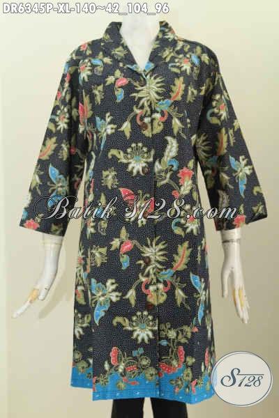 Baju Batik Kerja Wanita Karir, Pakaian Batik Halus Kwalitas Istimewa Buatan Solo Desain Kerah Langsung, Tampil Modis Dan Gaya [DR6345P-XL]