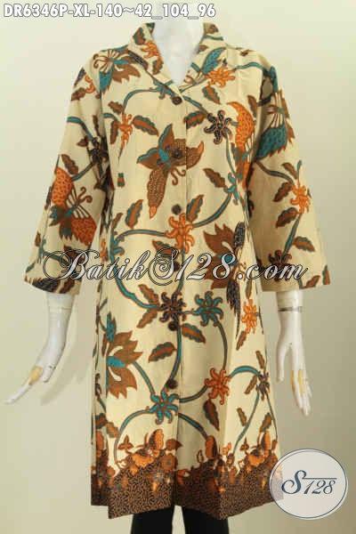 Baju Dress Modern Elegan Dan Istimewa, Produk Baju Batik Solo Trend Terkini Kerah Langsung Yang Bikin Penampilan Lebih Sempurna [DR6346P-XL]