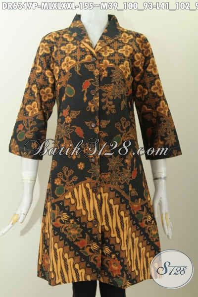 Batik Dress Motif Mewah, Baju Batik Kerah Langsung Bahan Halus Proses Printing Desain Mewah Bikin Wanita Terlihat Cantik Mempesona [DR6347P-XXL]