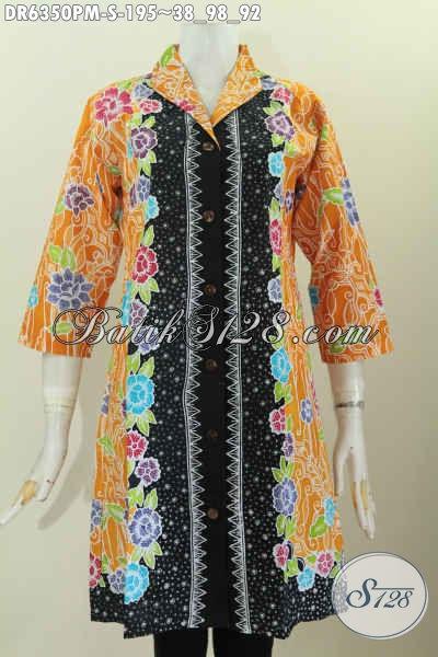 Baju Dress Elegan Berkelas Model Kerah Langsung Motif Mewah Proses Kombinasi Tulis Harga 195K [DR6350PM-S]