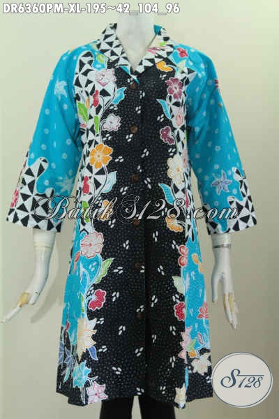 Dress BatikMotif Kombinasi Model Kerah Langsung Desain Mewah Proses Kombinasi Tulis Harga 195K, Size XL