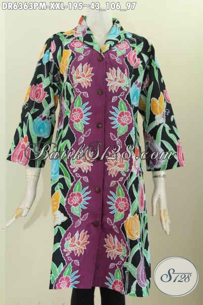Koleksi Terbaru Produk Pakaian Batik Wanita Gemuk, Dress Batik Kerah Langsung Warna Bagus Bahan Adem Proses Kombinasi Tulis Untuk Penampilan Lebih Bergaya [DR6363PM-XXL]