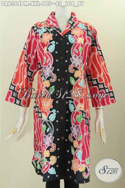 Dress Batik 3L, Baju Batik Wanita Gemuk Model Kerah Langsung Motif Istimewa Proses Kombinasi Tulis Harga 195 Ribu [DR6364PM-XXL]