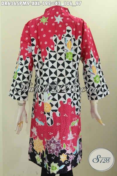 Baju Dress Batik Halus Elegan Dan Keren, Pakaian Batik Kerah Langsung Buatan Solo Untuk Wanita Gemuk Terlihat Istimewa [DR6365PM-XXL]