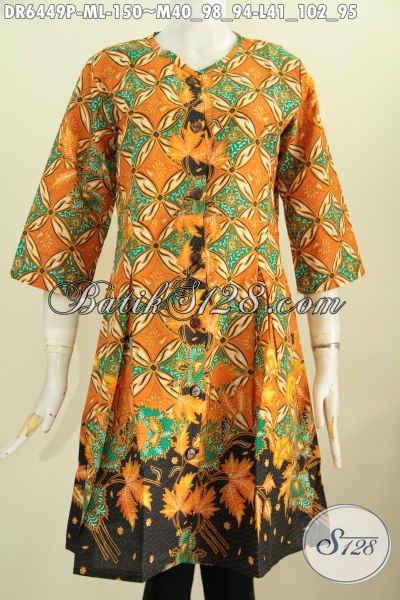 Batik Dress Wanita Muda Dan Dewasa, Baju Kerja Kwalitas Bagus Motif Elegan Proses Printing, Pakaian Batik Model Tanpa Kerah Pakai Kancing Depan, Tampil Lebih Istimewa, Size M – L