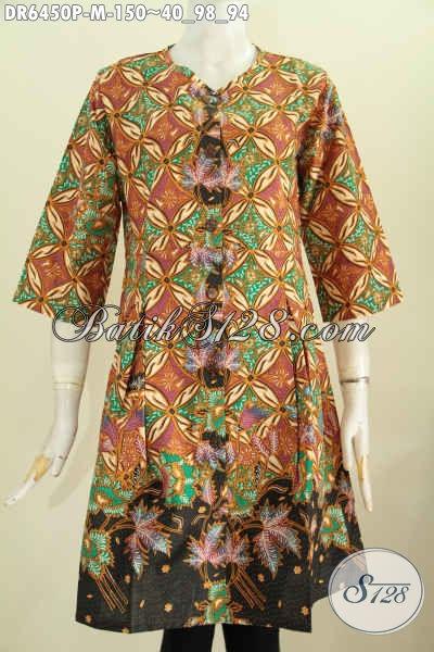 Jual Online Batik Dress Modis, Pakaian Batik Koleksi Terkini Model Tanpa Krah Pakai kancing Depan Istimewa Buat Ke Kantor [DR6450P-M]