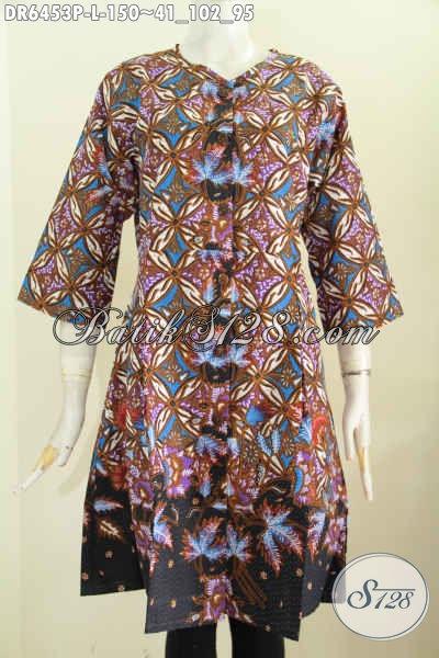 Dress Batik Printing Buatan Solo Untuk Tampil Anggun, Busana Batik Masa Kini Motif Unik Harga 150 Ribu [DR6453P-L]