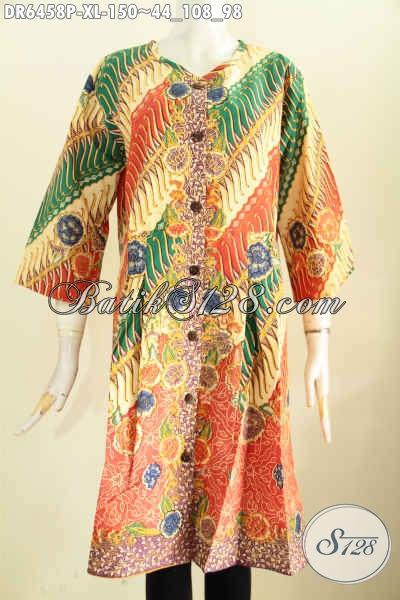 Batik Dress Tanpa Krah Pakai Kancing Depan, Pakaian Batik Wanita Karir Masa Kini Tampil Modis Dan Keren, Size XL