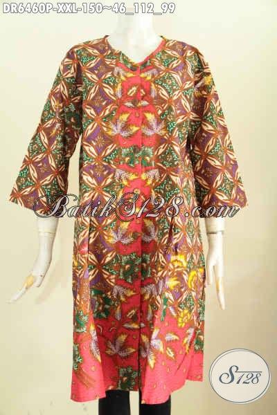 Produk Pakaian Batik Terkini, Busana Batik Solo Ukuran Jumbo Bahan Adem Motif Mewah Proses Printing Model Tanpa Krah Kancing Depan Untuk Wanita Gemuk [DR6460P-XXL]