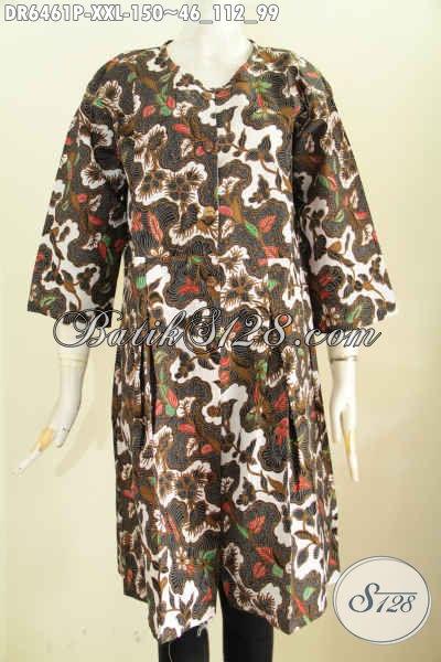 Dress Batik 3L, Busana Batik Halus Untuk Wanita Gemuk Bahan Adem Proses Printing Kwalitas Istimewa Bikin Penampilan Mempesona [DR6461P-XXL]