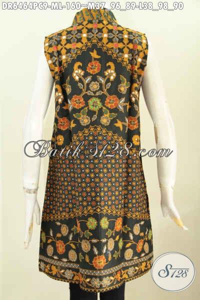 Dress Batik Printing Tanpa Lengan, Busana Batik Modis Motif Sinaran Untuk Tampil Gaya [DR6464PC-M , L]