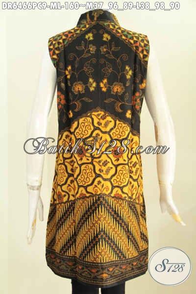 Juragan Baju Batik Online, Sedia Dress Batik Halus Tanpa Lengan Motif Sinaran Untuk Santai Dan Pesta [DR6466PC-M , L]